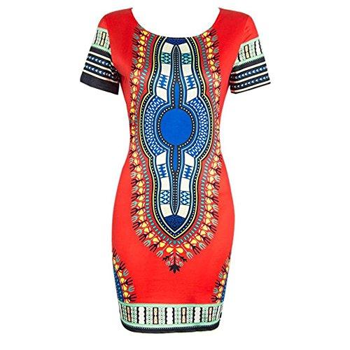 Traditionelle Dashiki (Kleider Damen Dasongff Damen Kleider Kurzarm Bleistiftkleider Sommerkleider Traditionelle Afrikanische Print Dashiki Reizvoller Bedrucktes Kleider Minikleid (XL, Rot))