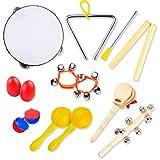 Musikinstrumente Kinder Set | Pädagogisches Musikinstrumente Set | Tamburin, Triangel, Maracas, Eierschüttlern, Klangstäbe, Handkastagnetten, Handgelenk- u. Schlittenglocken | Kinder ab 3 Jahren