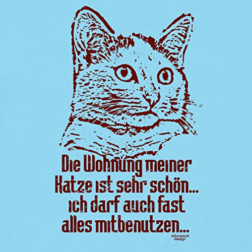Geschenk-Idee für Katzenfreunde :-: Motiv T-Shirt Katzen :-: Die Wohnung meiner Katze Geschenk Geburtstag Weihnachten Vatertag :-: auch in Übergrößen 3XL 4XL 5XL :-: Farbe: hellblau Hellblau