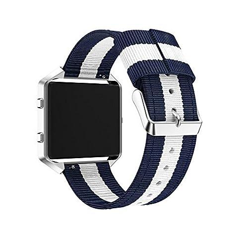 Fitbit Blaze Armband, iHee 2017 NUE Feines gewebtes Nylon verstellbares Ersatzband Sportband für Fitbit Blaze (D)