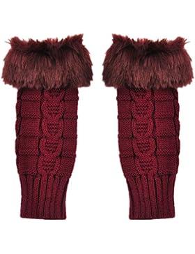 Nalmatoionme manicotti lunghi senza dita maglia guanti (vino rosso)