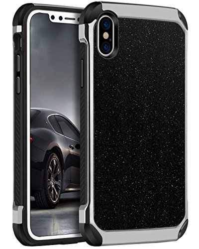 iPhone X Hülle, iPhone 10 Hülle, BENTOBEN Hybrid stoßfest Schutzhülle mit Doppelter Schutzschicht harte PC und flexibele TPU Bumper Case Hülle für Apple iPhone X / iPhone 10 Schwarz K011-Schwarz