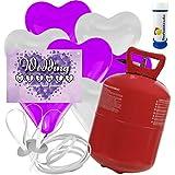 """30 Herz Luftballons freie Farbwahl mit Helium Ballon Gas + 30 Weitflugkarten """"Wedding Wishes"""" + Gratis Doriantrade Seifenblasen 60 ml Hochzeit Komplettset"""
