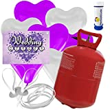 30 Herz Luftballons freie Farbwahl mit Helium Ballon Gas + 30 Weitflugkarten