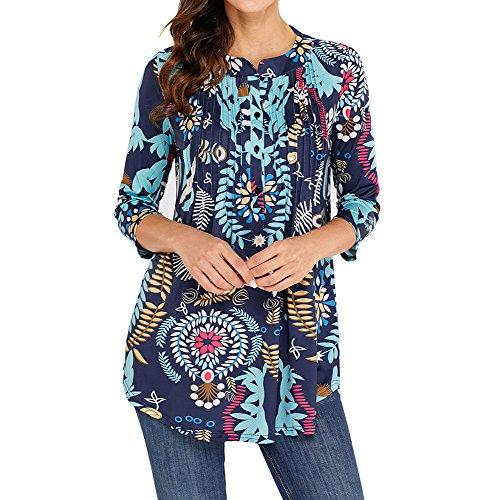 Blouses dames de base Tunique Loose 3/4 Sleeve Chemisier décontracté Blouse imprimée à fleurs Vintage Chemises tuniques Blouse de mode pour les femmes Fleurs