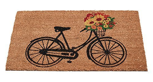 Fußmatte aus Kokos 45 x 75 cm für außen und innen   Rückseite beschichtet   hochwertige Kokosmatten als Fußmatte   verschiedene Modelle mit Print   mit beschichteter Rückseite und robuster Kokos Faser, auch für Garten, Terrasse und Balkon geeignet (Fahrrad Blumen)