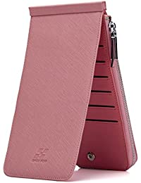 Haut Ton Rfid Blocking Women'S Genuine Leather Wallet Credit Card Holder Zipper Purse (Pink)