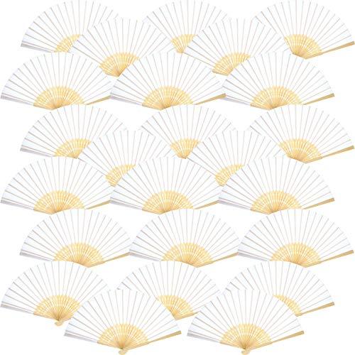 Tatuo 24 Packungen Schwarz Seiden Bambus Hand Gefalteter Ventilator für Hochzeit, Party, Kirche, Kinder, DIY, Dekoration (Weiß) (Leichte Sommer-kunsthandwerk Für Kinder)