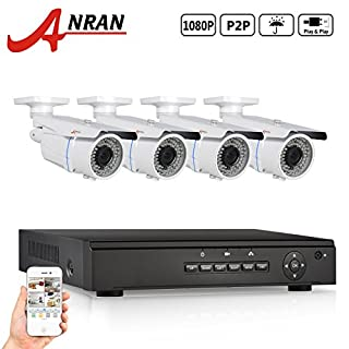 ANRAN 4CH NVR Home Network Security-Kamera-System mit 4 x HD 1080P 2.8-12mm Handbuch Zoom Wetter PoE IP-Kamera-NO-Festplatte