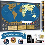 Mapa Mundi Rascar en Español de 84 x 58cm con Juego Interactivo de Puntos y Retos y 7 Niveles Diferentes | Mapa Rascar con Utensilios de Rayado, Pegatinas y demás | Scratch Map, Regalo para Viajeros