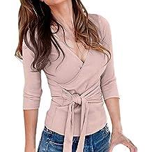 Luckycat Camiseta de Manga Larga con Cuello en V para Mujer Blusa de Tirantes de Cintura