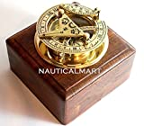 Brass Sundial Compass - Solid Brass Pocket Sundial - West London with wooden box by Nauticalmart
