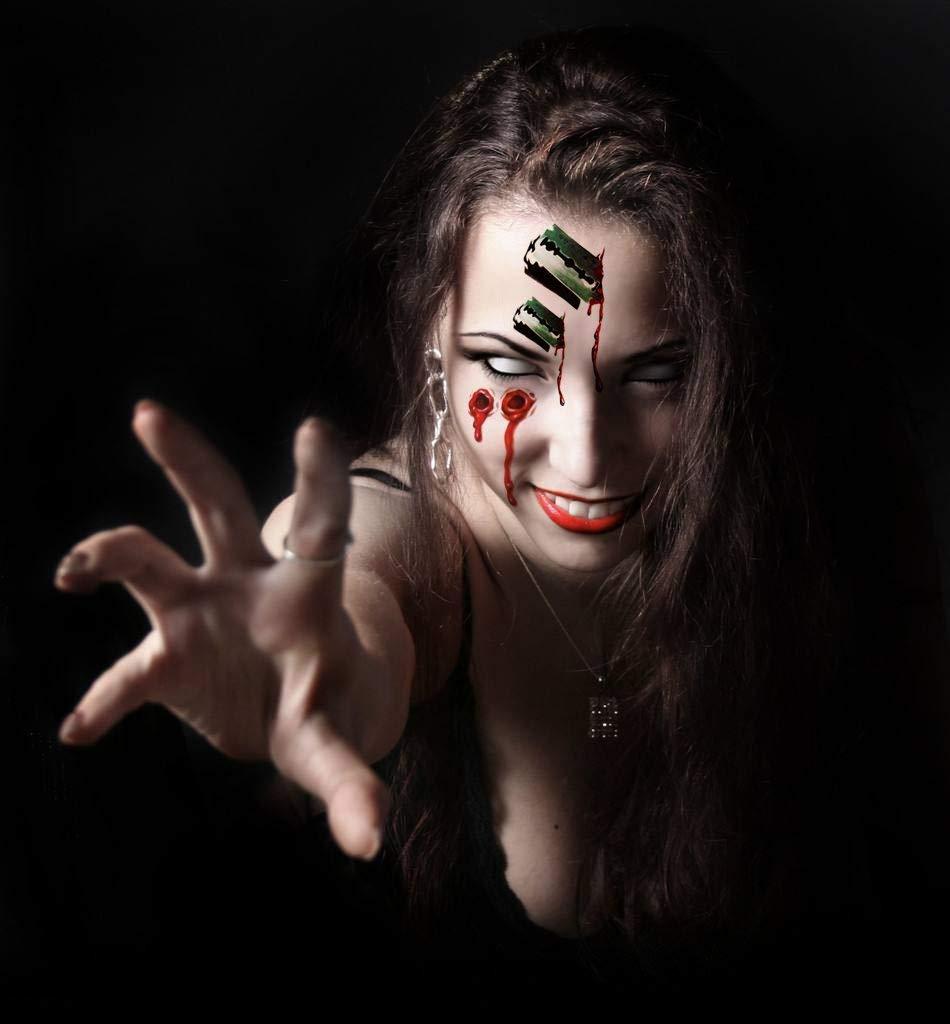 Tuopuda 20 Blätter Tattoos Narben Wunden Horror Ritzen Helloween Temporäre Tattoos Makeup Aufkleber für Halloween Party