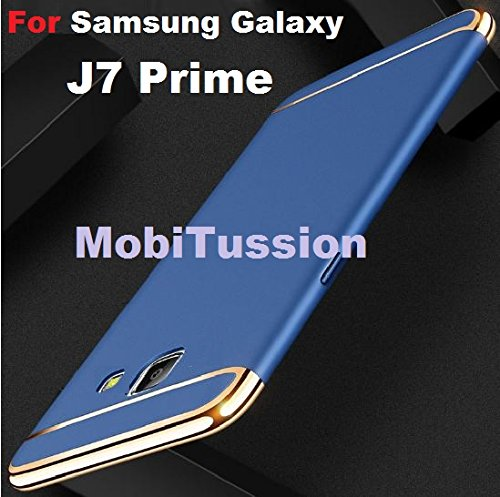 MOBITUSSION Eventual Series Luxury 360 Degree Protection 3in1 Back Cover For Samsung J7 Prime (Blue with Gold)