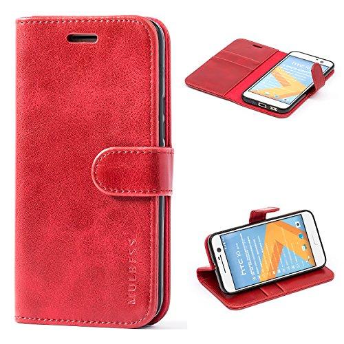 Mulbess Ledertasche im Ständer Book Case / Kartenfach für HTC 10 Tasche Hülle Leder Etui,Wine Rot