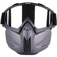 Motocicleta Gafas con desmontable máscara, spohife antiniebla resistente al viento motocicleta gafas máscara escudo gafas de Motocross, negro
