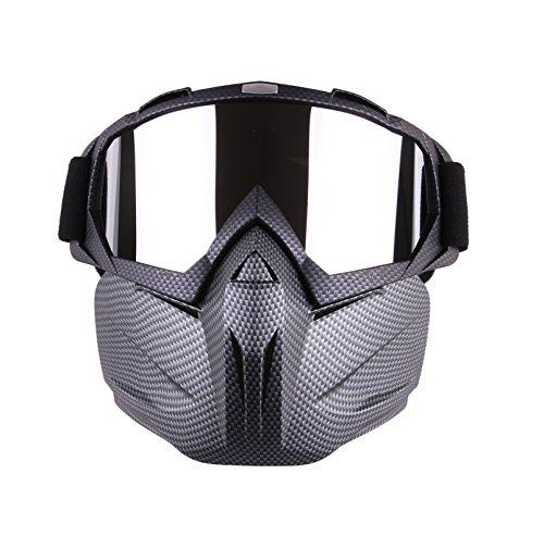 Spohife occhiali da moto con maschera removibile, occhiali da moto antinebbia e antivento con maschera protettiva, guanti da motocross, black