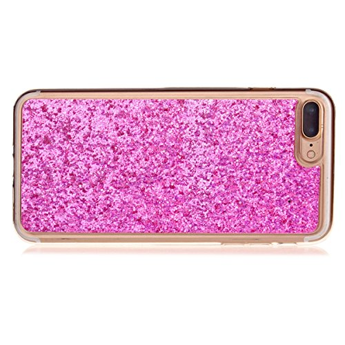 Custodia iphone 7 plus 5.5, Cover per iphone 8 plus Silicone, iphone 7 plus Glitter Cover, MoreChioce Moda Glitter Sparkle Bling bling Brillante Morbido 3d Gel TPU Silicone Gomma Cover Case Custodia p C-Hot Pink