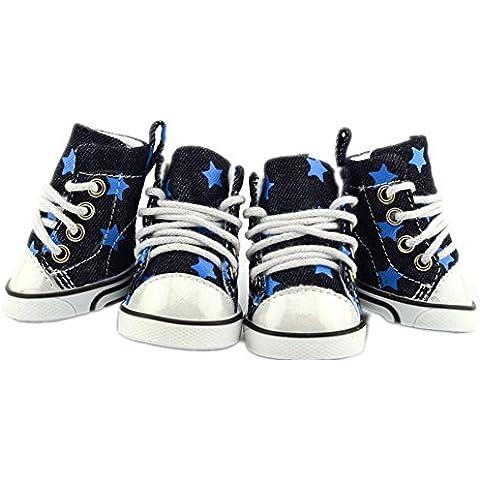 cotone cowboy scarpe animale domestico invernali morbida robusto antiscivolo stivali accogliente antiusura a cinque punte cane stelle 4 pezzi (taglie XS-XL) , blue , s