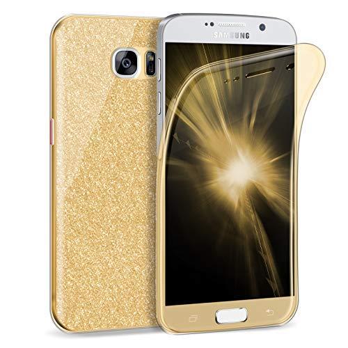 Zhinkarts Handy Hülle für Samsung Galaxy S7 - Full Body 360 Grad TPU Silikon Crystal Case - Komplett Schutzhülle Cover in Gold Clear/Rückseite Glitzer Gold Handy Cover