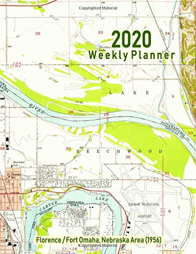 2020 Weekly Planner: Florence/Fort Omaha, Nebraska Area (1956): Vintage Topo Map Cover - Florence Antique Print