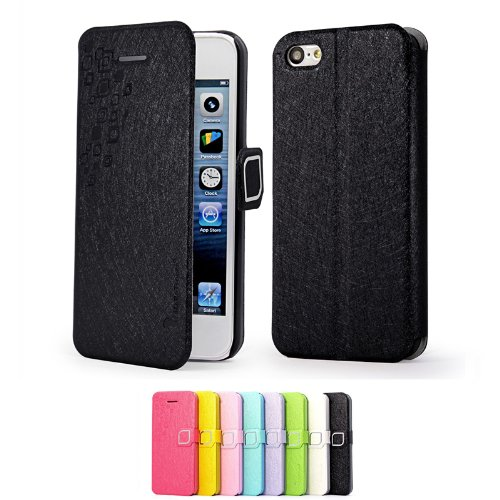 Mulbess Apple iPhone 5C DearStyles étui Housse en cuir ultra-slim pour iPhone 5C Couleur Noir