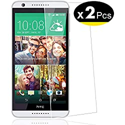 NEW'C Lot de 2, Verre Trempé pour HTC Desire 820, Film Protection écran - Anti Rayures - sans Bulles d'air -Ultra Résistant (0,33mm HD Ultra Transparent) Dureté 9H Glass