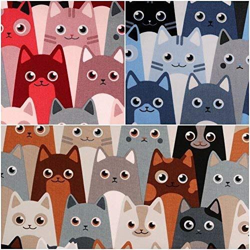 DIE NÄHZWERGE Baumwollstoff Motivkollektion Tiere [KATZE ALLOVER, KATZENDRUCK] - Meterware ab 50cm in 2 Farben | 100% Baumwolle, Cotton - zum Nähen, Quilten & Patchworken (rot-rosa)