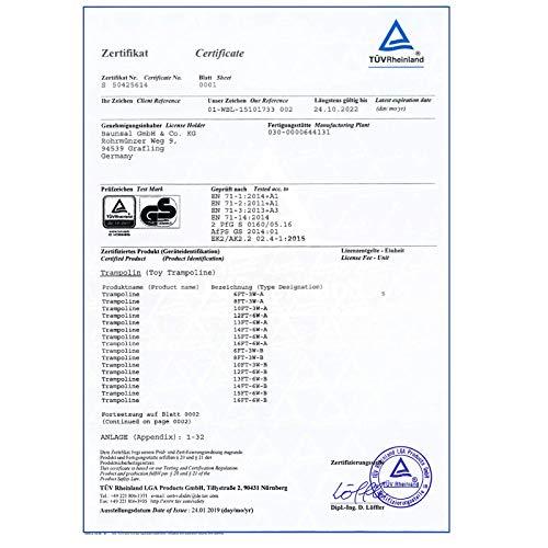 Gartentrampolin Trampolin 305 bis 310 cm in blau mit Sicherheitsnetz und Einstiegsleiter - 2
