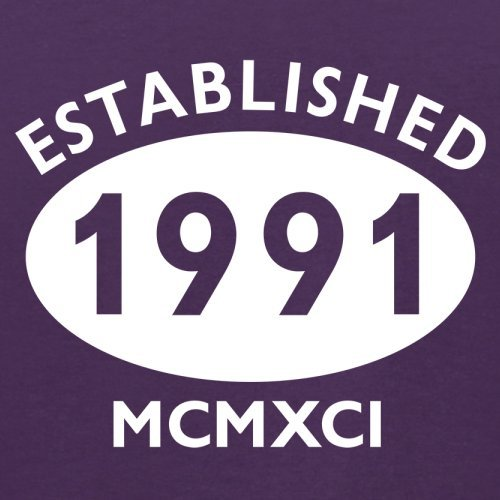 Gegründet 1991 Römische Ziffern - 26 Geburtstag - Herren T-Shirt - 13 Farben Lila