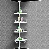 Estantería de Baño Ducha Estantería Telescópica de Esquina 4 Estantes 285 cm Blanco