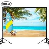 HuaYi Fotografie Hintergrund Sommer, Sonne Natur Strand Thema Party Hintergründen Blue Sky Palme Photo Booth Hintergrund für Bilder Baby Dusche
