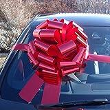 Nœud de voiture méga géant 40,6 cm + 6mètres de ruban pour voitures, motos, grands cadeaux d'anniversaire et de Noël- Rouge métallisé