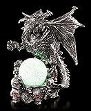 Figuren Shop GmbH Drachen Figur mit LED-Farbwechsler - Ares mit Kristallkugel | Gothic Fantasy
