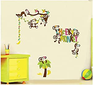 UberLyfe Cheeky Monkey with Tree Wall Sticker Size 4 (Wall Covering Area: 100cm x 140cm) - WS-425