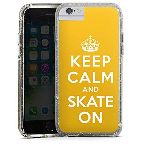Apple iPhone 7 Bumper Hülle Bumper Case Glitzer Hülle Keep Calm Skateboard Skaten Bumper Case Glitzer gold