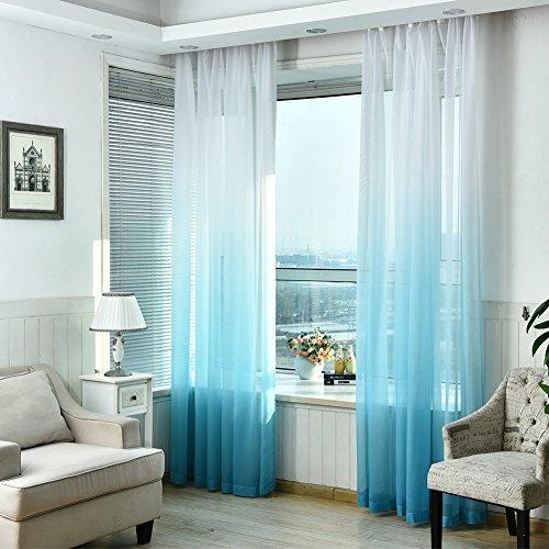 2pannelli colorati gradiente finestra screening tenda drappo floreale tulle voile per camera da letto bagno soggiorno, 99,1x 269,2cm/pannello blue