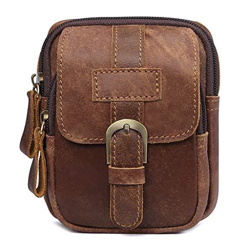 Dabixx Bolso de la Cintura, Hombres Vintage Casual Fanny Bum Pack Zipper Belt Travel Bolsa al Aire Libre 1#