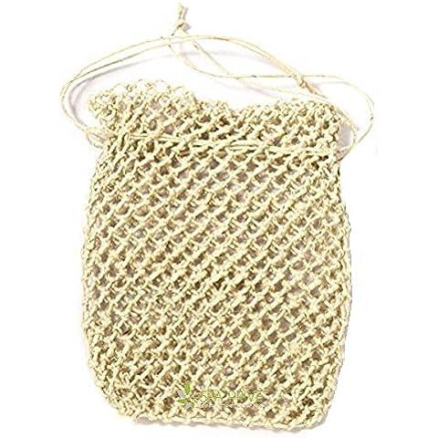 Borsa per sapone esfoliante di canapa 13x10 cm fatto a mano