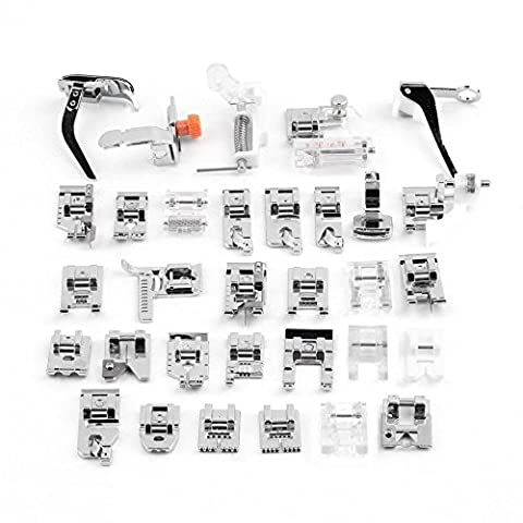 Sewing Machine Presser, 32Pcs Sewing Machine Presser Foot Set For Janome Brother Singer Domestic Part, Singer, Janome, Elna, Toyota, New Home,