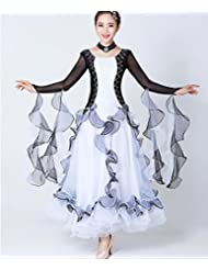 8c1d1fb8d72435 QCBC Mode Frauen Standard Tanz Kleider Schwarz-Weiß-Collage Langarm Netz  Sand Ballroom Kleid