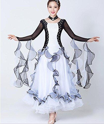 QCBC Mode Frauen Standard Tanz Kleider Schwarz-Weiß-Collage Langarm Netz Sand Ballroom Kleid Leistung Wettbewerb Kostüm Tango Kleid Tanz Kleid Schwarz + Weiß , xxl , black and white (Tango Leistungs Kostüm)
