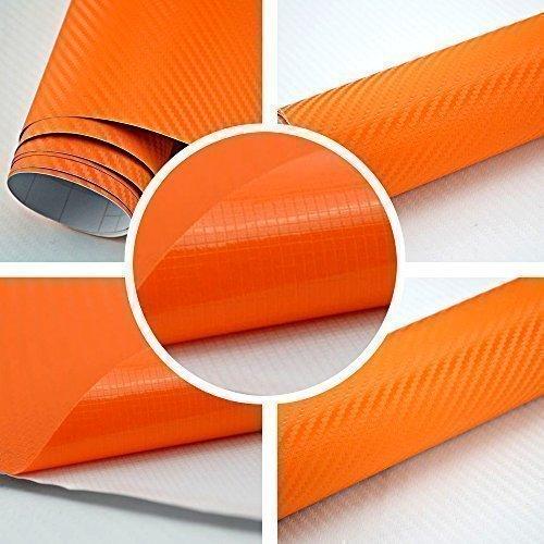 3D Carbon Folie orange BLASENFREI 1m x 1,52m mit Luftkanäle