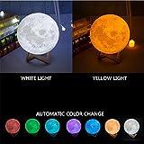 L&T STAR Lune Lampe Télécommande Modèles 3D Mode Lampe Nuit Éclairage Nuit Lumière 16 Couleur 4 Types De Mode De Conversion Creative Lampe USB De Charge , 12