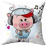 koniqiwa Decorative Pillow Covers, Merry Pillow Cases Farmhouse Couch Pillows Cute Cartoon Pig Cap Headphones