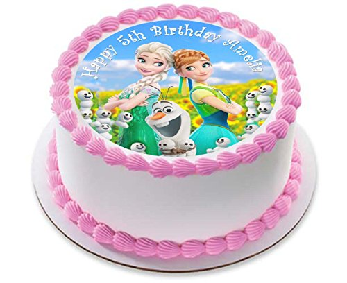 Elsa Anna Princess Personalized Cake Topper Icing Sugar Paper 7.5 image 3 by Fabulous Cake Toppers (Disney Cake Topper)