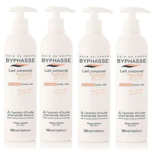 Byphasse LOT DE 4 - Lait corporel nutritif à l'extrait d'amande douce peaux sèches (doseur) - 500 ml
