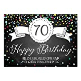 Große XXL Design Glückwunsch-Karte zum 70. Geburtstag mit Umschlag/DIN A4/Tafel-Look Konfetti/Grußkarte/Geburtstagskarte/Happy Birthday