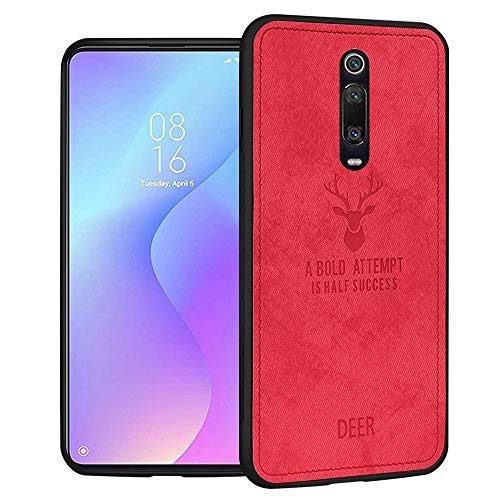 RIFFUE Funda Xiaomi Mi 9T o 9T Pro, Ultra Slim Delgada Carcasa de Tela Back Case - Rojo