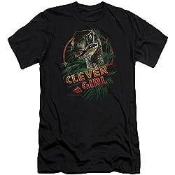 Parque jurásico dinosaurios acción película Spielberg Clever Girl adultos Slim camiseta de manga corta Tee